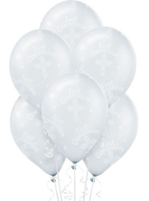 First Communion Balloons 6ct - Clear Blessings