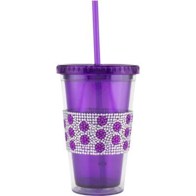 Purple Rhinestone Dots Double Wall Tumbler