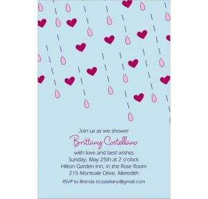 Custom It's Raining Love Bridal Shower Invitations