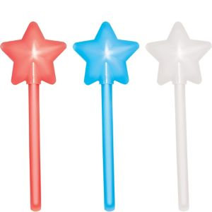 Patriotic Red, White & Blue Star Glow Wands 3ct