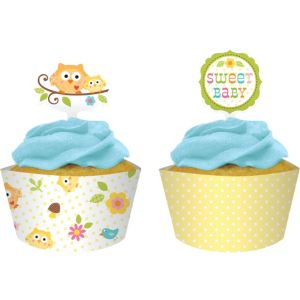 Owl Baby Shower Cupcake Decorating Kit for 12