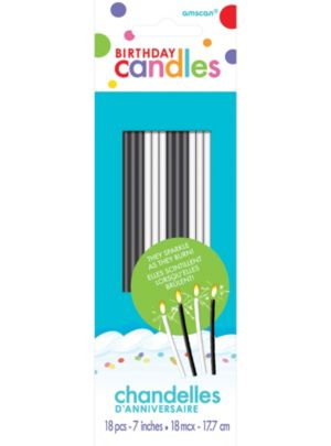 Tall Black & White Sparkler Birthday Candles 18ct