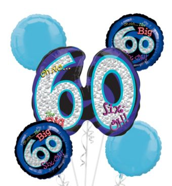 60th Birthday Balloon Bouquet 5pc - Blue Oh No!