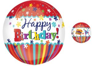 Orbz Stripes & Bursts Birthday Balloon 16in
