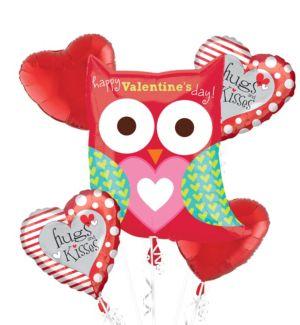 Owl Valentines Day Balloon Bouquet 5pc
