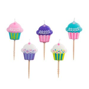 Cupcake Birthday Toothpick Candles 5ct