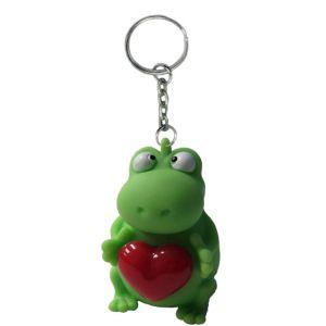 Heart Pop Squeeze Frog Keychain