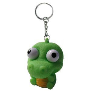 Eye Pop Squeeze Green Dinosaur Keychain