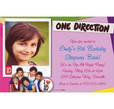 One Direction Custom Photo Invitation