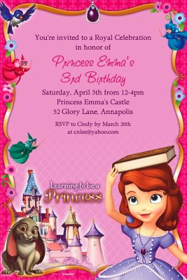 Custom Sofia the First Photo Invitations Party City
