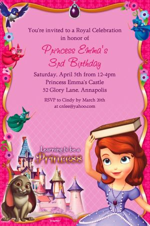 Custom Sofia the First Invitations