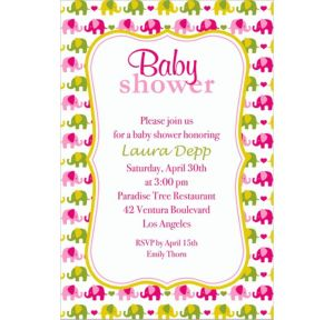 Custom Baby Elephant Pattern Girl Invitations
