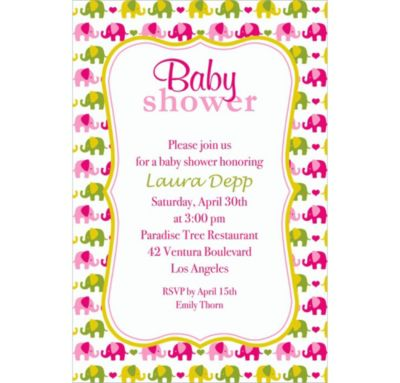 Baby Elephant Pattern Girl Custom Invitation