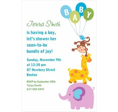 Animals with Boy Balloons Custom Invitation