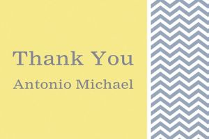 Custom Chevron and Initial Neutral Thank You Note