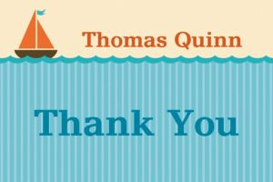 Custom Sailboat and Seersucker Thank You Note