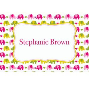 Custom Baby Elephant Pattern Girl Thank You Notes
