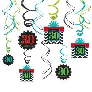 Celebrate 30th Birthday Swirl Decorations 12ct