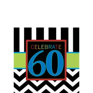 Celebrate 60th Birthday Beverage Napkins 16ct