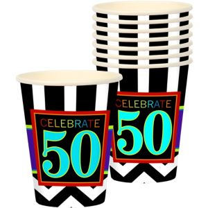 Celebrate 50th Birthday Cups 8ct