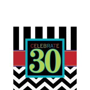 Celebrate 30th Birthday Beverage Napkins 16ct