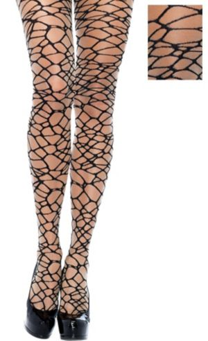 Adult Black Crackle Net Pantyhose