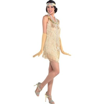 Roaring 20s Champagne Flapper Dress Party City