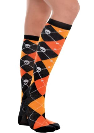 Orange Argyle Knee-High Socks