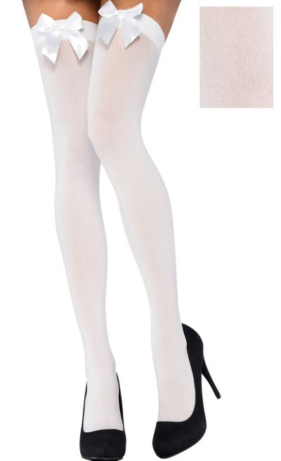 e4987d1a3e5 Adult White Thigh-High Stockings with Bows