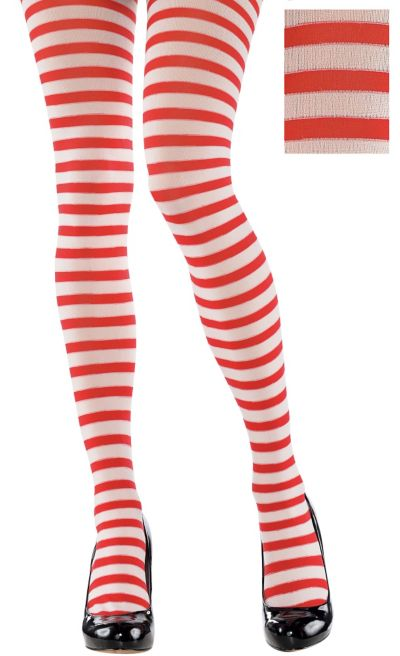 Adult Red and White Striped Tights