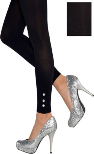 Adult Jeweled Black Footless Tights