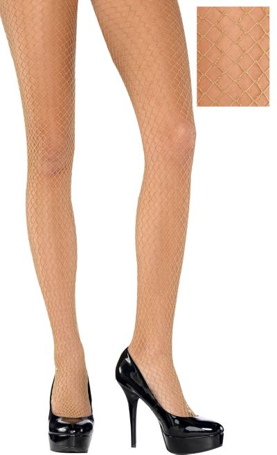Adult Wide Diamond Gold Fishnet Pantyhose