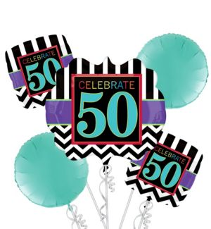Celebrate 50th Birthday Balloon Bouquet 5pc
