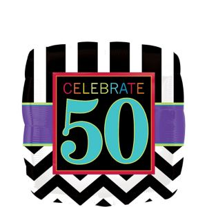 50th Birthday Balloon - Square Chevron