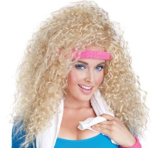 Let's Get Physical Crimped Blonde Wig