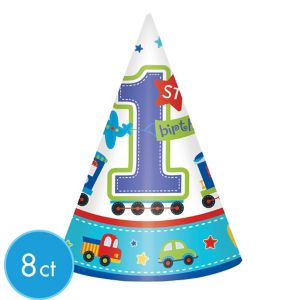 All Aboard 1st Birthday Party Hats 8ct