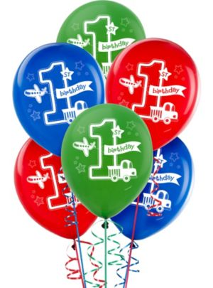 All Aboard 1st Birthday Balloons 15ct