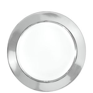 White Silver Border Premium Lunch Plates 16ct