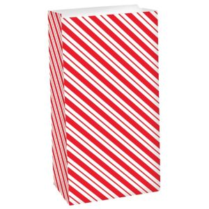 Red & White Striped Paper Favor Bag