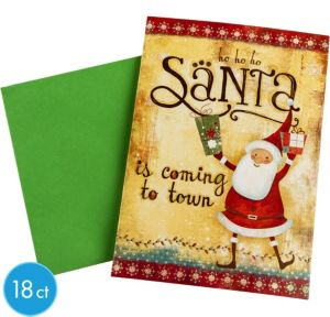 Santa is Coming to Town Greeting Cards 18ct