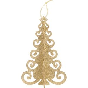 3D Gold Glitter Christmas Tree