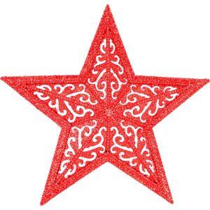 Glitter Red Filigree Star