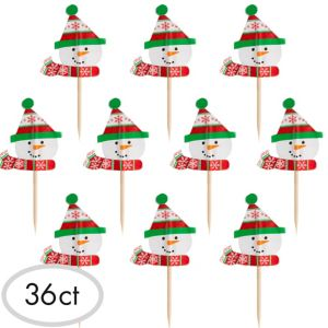 Snowman Cupcake Picks 36ct