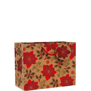 Kraft Poinsettia Christmas Gift Bag