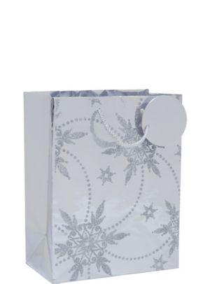 Silver Glitter Snowflake Christmas Gift Bag