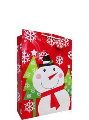 Glitter Snowman Christmas Gift Bag