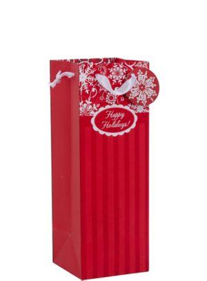Red & White Stripe Holiday Bottle Bag