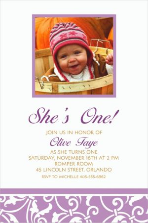 Custom Lavender Ornamental Scroll Photo Invitations