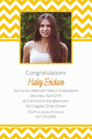Custom Sunshine Yellow Chevron Photo Invitations