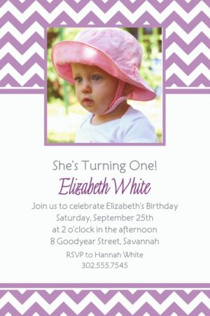 Custom Lavender Chevron Photo Invitations
